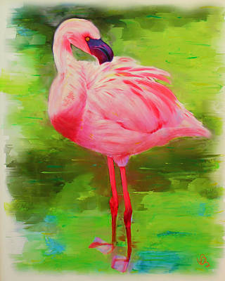 Poster featuring the painting Pink Flamingo by Deborah Boyd