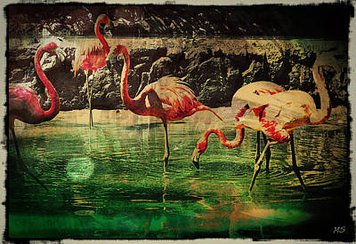Pink Flamingos - Shangri-la Poster by Absinthe Art By Michelle LeAnn Scott