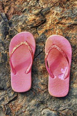 Pink Flip Flops On A Rock Poster by Jason Politte