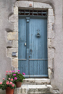Pink Flowers And A Blue Door Poster