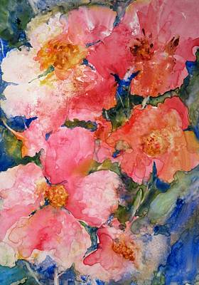 Pink Flowers Poster by Cynthia Roudebush