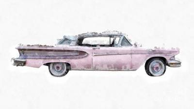 Pink Ford Edsel  Watercolor Poster by Edward Fielding