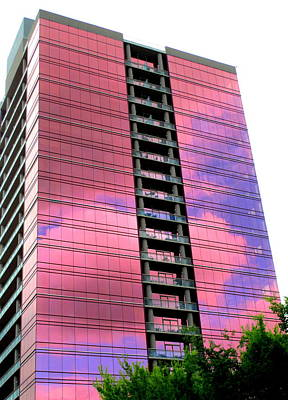 Pink Glass Buildings Can Be Pretty Poster by Randall Weidner