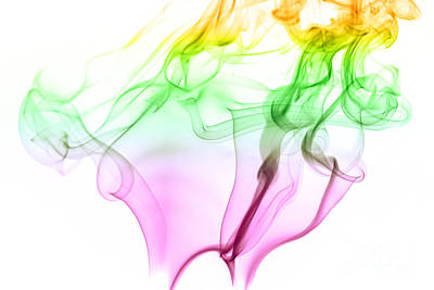 Pink Green And Yellow Smoke Abstract Poster