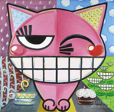 Pink Kitten Crossing The Street Poster