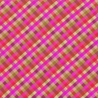 Pink Magenta And Green Plaid Textile Background Poster by Keith Webber Jr
