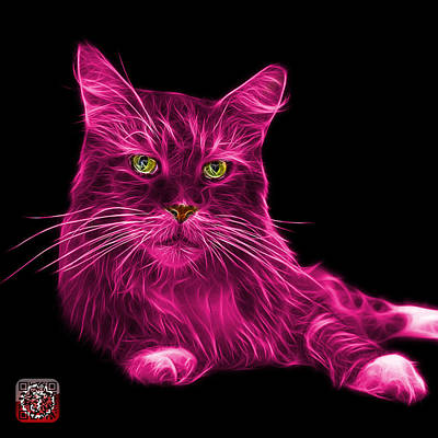 Poster featuring the painting Pink Maine Coon Cat - 3926 - Bb by James Ahn