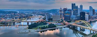Pink Monongahela Reflections Panorama Poster by Adam Jewell