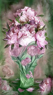 Pink Peonies In Peony Vase Poster by Carol Cavalaris