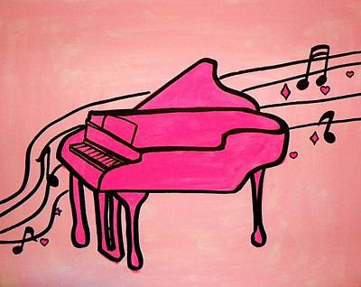 Pink Piano Poster by Marisela Mungia