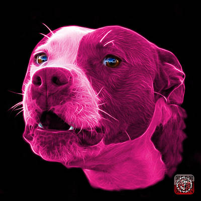Poster featuring the mixed media Pink Pitbull Dog 7769 - Bb - Fractal Dog Art by James Ahn
