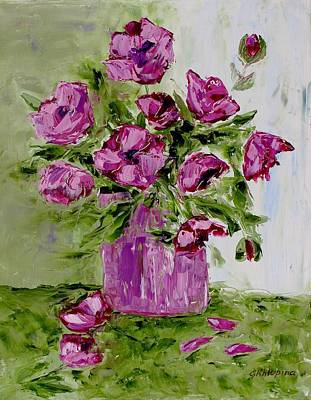 Pink Poppies In Pink Vase Poster