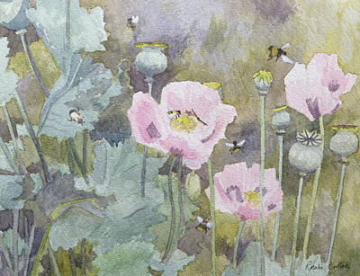 Pink Poppies With Bees Poster