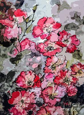 Pink Rambling Roses Modern Mixed Media Poster