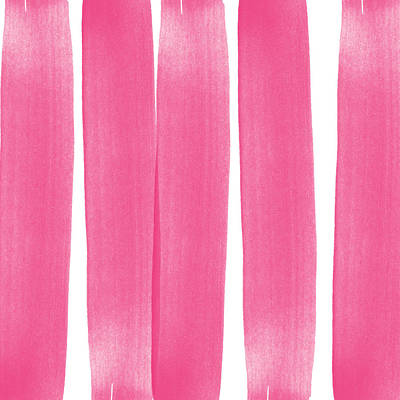 Pink Ribbons- Colorful Abstract Watercolor Painting Poster by Linda Woods