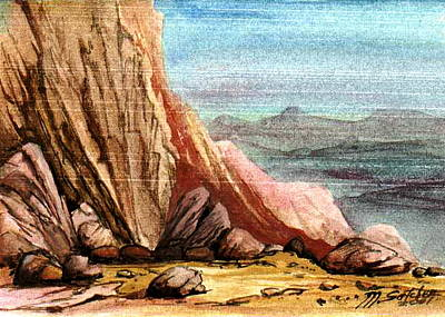 Poster featuring the painting Pink Rocks by Mikhail Savchenko