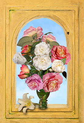 Pink Roses And White Peonis In Roemer In Open Niche Poster
