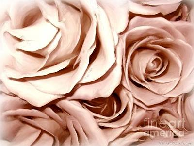 Pink Roses Bouquet Sketchbook Effect Poster by Rose Santuci-Sofranko