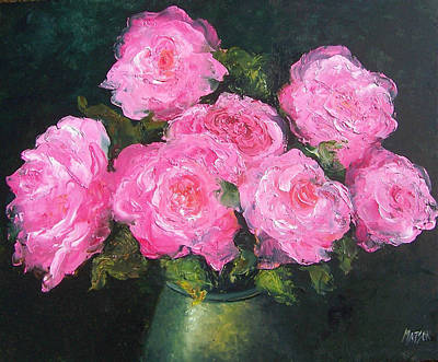 Pink Roses In A Brass Vase Poster