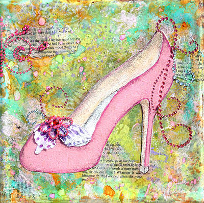 Pink Shoes With Mixed Media Background Poster by Janelle Nichol