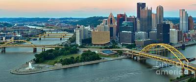 Pink Skies Over Pittsburgh Poster by Adam Jewell