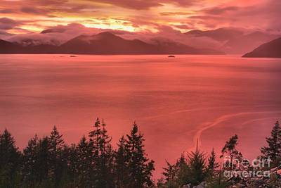 Pink Skies Over The Howe Sound Poster by Adam Jewell