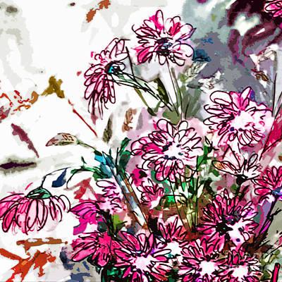 Pink Spray Flower Art Poster