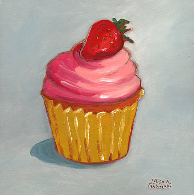 Poster featuring the painting Pink Strawberry Cupcake by Susan Thomas