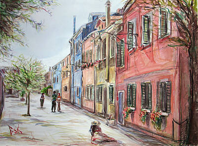 Poster featuring the painting Pink Street by Becky Kim