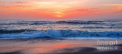 Pink Sunrise Panorama Poster by Kaye Menner
