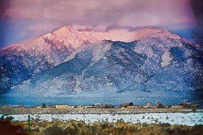 Pink Sunset On Taos Mountain Poster by Charles Muhle