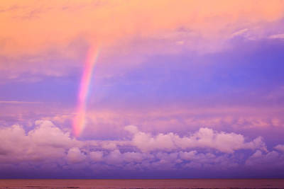 Poster featuring the photograph Pink Sunset Rainbow by Peta Thames