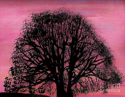 Poster featuring the drawing Pink Sunset Tree by D Hackett