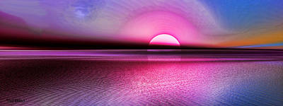 Poster featuring the digital art Pink Sunset by Tyler Robbins