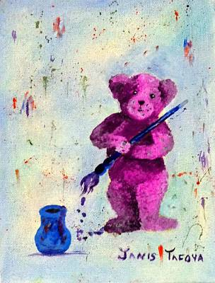 Pink Teddy The Artist Poster by Janis  Tafoya