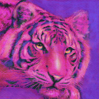 Poster featuring the digital art Pink Tiger by Jane Schnetlage