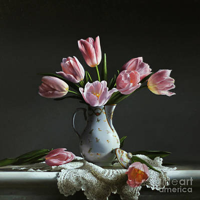 Pink Tulips In A Chocolate Pot Poster by Larry Preston