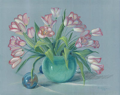 Poster featuring the painting Pink Tulips In Green Vase by Dan Redmon