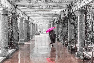 Pink Umbrella In A Storm Poster