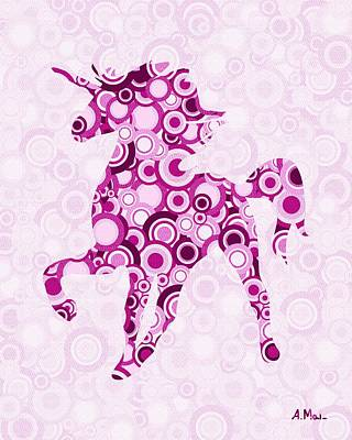 Pink Unicorn - Animal Art Poster by Anastasiya Malakhova
