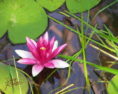 Poster featuring the painting Pink Water Lily by Doug Kreuger
