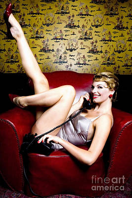Pinup Girl On The Phone Poster by Diane Diederich
