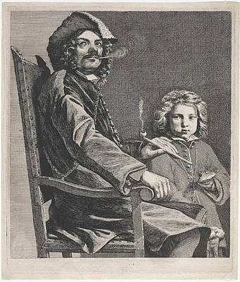 Pipe Smoking Man In Chair, Michael Sweerts Poster by Michael Sweerts