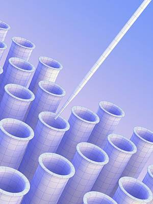 Pipette With An Array Of Test Tubes Poster