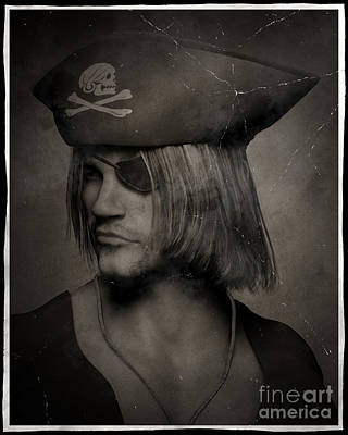 Pirate Captain Portrait - Antique Effect Poster by Fairy Fantasies