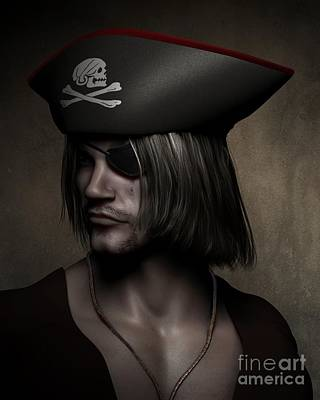 Pirate Captain Portrait Poster by Fairy Fantasies