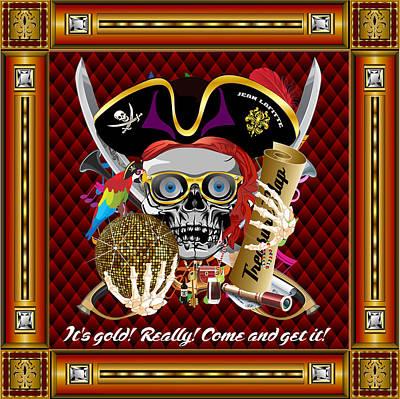 Pirate Mardi Gras Version 1 Vector Sample Poster by Bill Campitelle