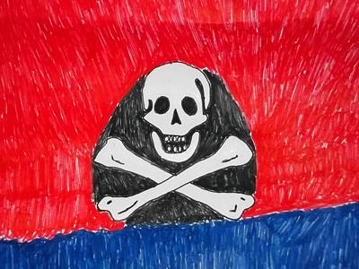 Pirate Symbol Mix Media On Paper Poster by William Sahir House