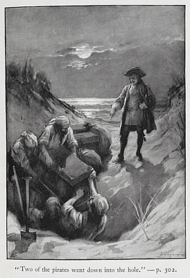 Pirates Burying Treasure Poster by British Library