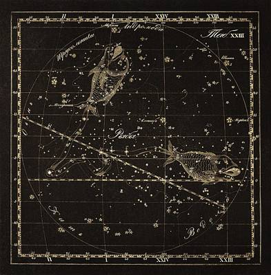 Pisces Constellation, 1829 Poster